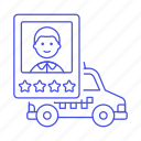 car, driver, male, profile, rating, service, stars, taxi, taxicab, transportation, vehicle icon