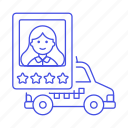 car, driver, female, profile, rating, service, stars, taxi, taxicab, transportation, vehicle icon
