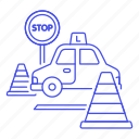 car, cones, driver, driving, exam, learner, lessons, practical, signs, test, traffic, transportation icon