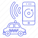 app, application, cab, car, finding, phone, road, smartphone, taxi, taxicab, transportation, vehicle icon