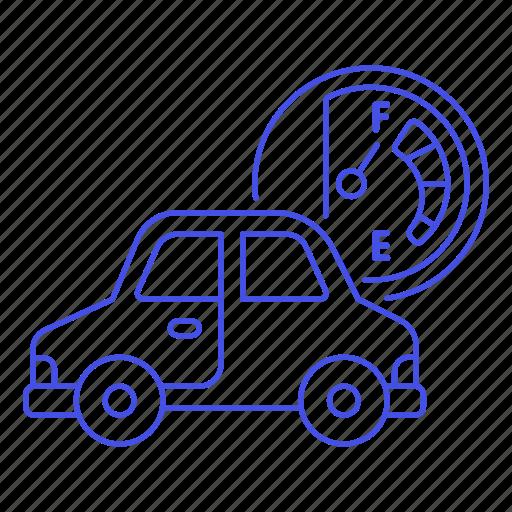 car, dashboard, fuel, full, gas, gasoline, land, petrol, road, tank, transport, transportation icon