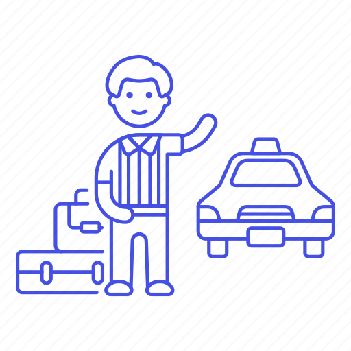 1, a, baggage, cab, customer, hail, journey, land, luggage, male, street, taxi, transportation, trip icon