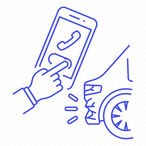 1, accident, call, car, crash, hand, insurance, phone, transportation, vehicle, wreck icon