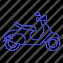 brown, land, light, motor, motorbike, motorcycle, road, scooter, transportation, vespa icon