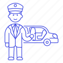 chauffeur, event, land, limousine, luxury, male, pickup, taxi, transportation, vehicle icon