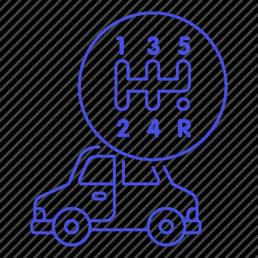 box, car, features, gear, manual, road, status, transportation icon