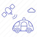 antenna, car, cars, communication, road, satellite, signal, smart, transmitter, transportation icon
