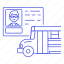 1, bus, commercial, driver, driving, license, male, permit, road, school, transportation icon