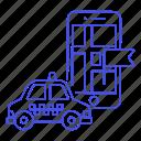 app, application, car, destination, flag, location, map, phone, taxi, taxicab, transportation, vehicle icon