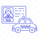 app, cab, car, driver, driving, female, license, road, taxi, taxicab, transportation, vehicle icon
