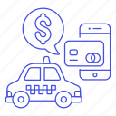 app, application, card, credit, debit, online, payment, phone, ride, taxi, transportation icon