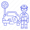 car, infraction, male, no, officer, parking, police, tickets, traffic, transportation icon