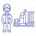 commercial, driver, full, male, motorist, on, road, transport, transportation, truck, trucker icon
