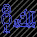 commercial, driver, female, full, motorist, on, road, transport, transportation, truck, trucker icon