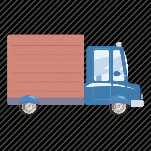 auto, automobile, car, cartoon, commercial, courier, delivery icon