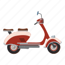 bike, biker, card, cartoon, character, motorbike, scooter icon