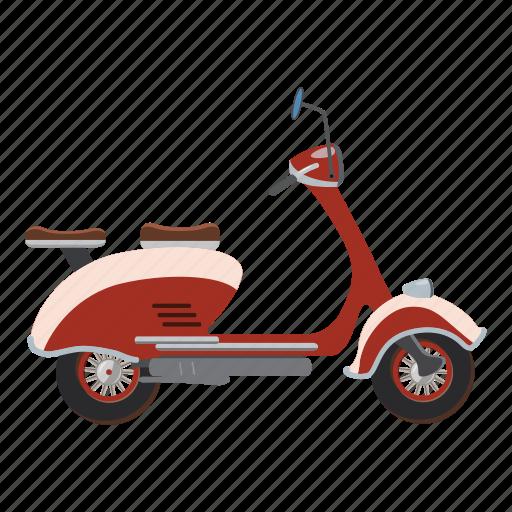 bike, biker, card, cartoon, character, motorbike, scooter icon