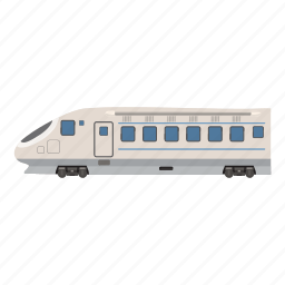 cartoon, commuter, electric, high, modern, speed, train icon
