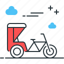 rickshaw, cycle, cart, transportation icon