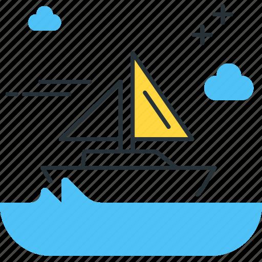 boat, sail, sailboat, sailing, water icon