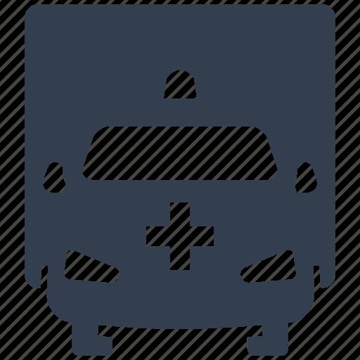 ambulance, auto, cars, emergency, front, medical, motor, transportation, vehicle icon
