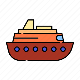 boat, color, cruise, lineal, sea, ship, transport, travel icon
