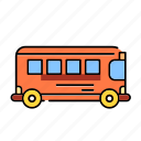 bus, color, lineal, rail bus, school bus, transport, transportation, travel icon