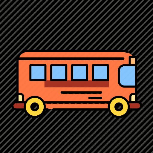 bus, color, lineal, rail bus, school bus, transport, transportation, travel icon