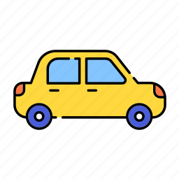 car, color, familycar, lineal, on road, transport, travel, vehicle icon
