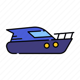 color, lineal, motorboat, sea, ship, speedboat, transport, travel icon