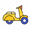 color, lineal, motorbike, motorcycle, racing, transport, transportation, vehicle icon