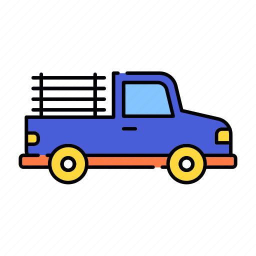 car, color, lineal, pickup, transport, transportation, truck, vehicle icon