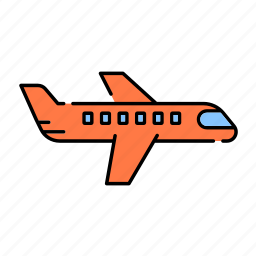aircraft, airline, color, flight, lineal, plane, transport, traveling icon