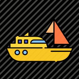 color, lineal, sailingboat, sea, ship, sport, transport, travel icon