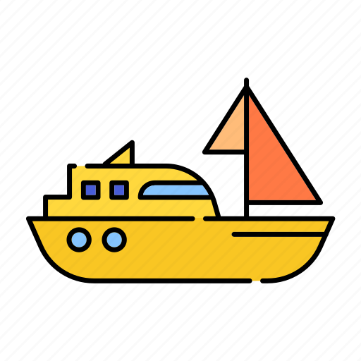 color, lineal, sailingboat, sea, ship, sport, transport, travel icon