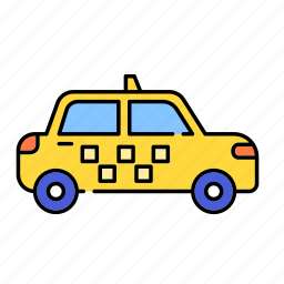 car, color, lineal, public, taxi, transport, transportation, vehicle icon