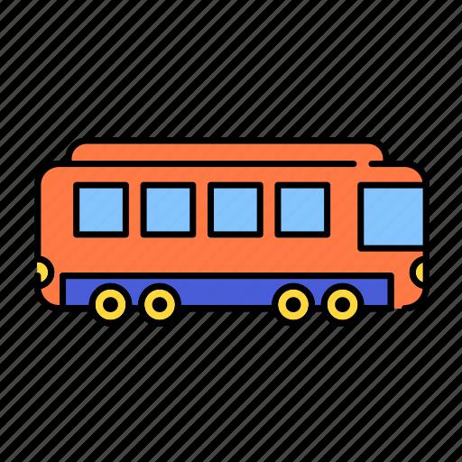 color, lineal, public, railway, train, transport, transportation, vehicle icon