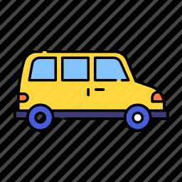 car, color, lineal, transport, transportation, travel, van, vehicle icon
