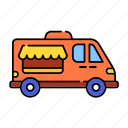 car, color, delivery, icecream car, lineal, transport, van shop, vanshop, vehicle icon