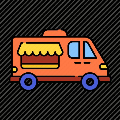 car, color, delivery, icecream car, lineal, transport, van shop, vanshop, vehicle icon