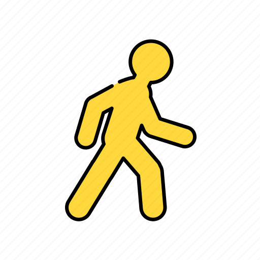color, lineal, man, on feet, on the way, sign, transport, walk icon