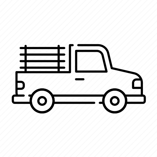 car, lineal, pickup, transport, transportation, truck, vehicle icon