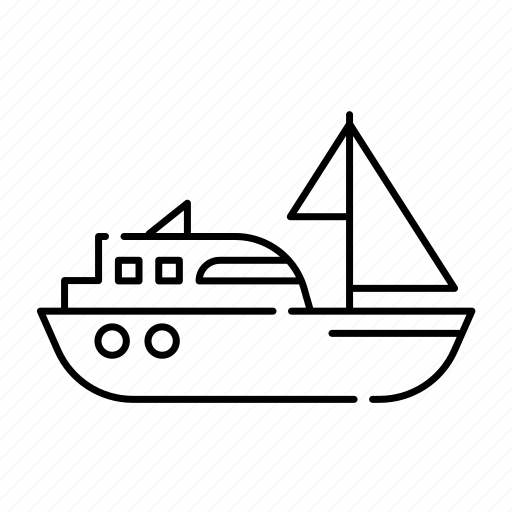 lineal, sailingboat, sea, ship, sport, transport, travel icon