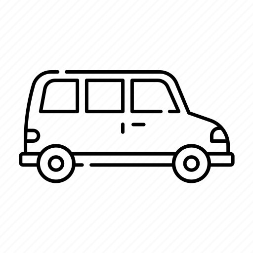 car, lineal, transport, transportation, travel, van, vehicle icon