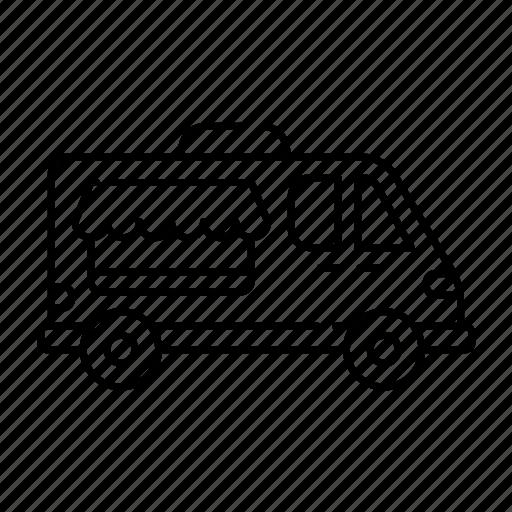 car, delivery, icecream car, lineal, transport, van shop, vanshop, vehicle icon
