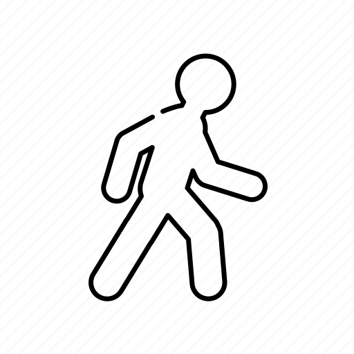 lineal, man, on feet, on the way, sign, transport, walk icon