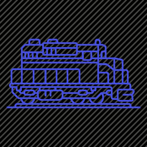 1, diesel, engine, railroad, railway, track, train, transport, transportation icon