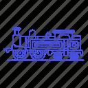 2, engine, land, railroad, railway, steam, track, train, transport, transportation icon