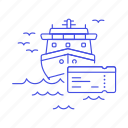 ferry, fluvial, maritime, sea, ship, ticket, transportation, vessel, waterborne, watercraft icon