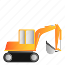 excavator, transportation, vehicle